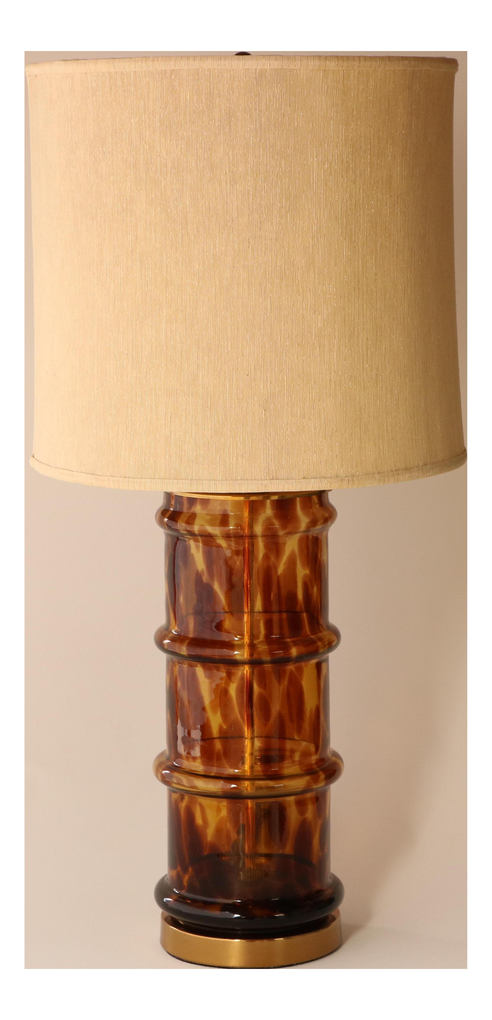 Paul Hanson Tortoiseshell Glass Table Lamp Chairish
