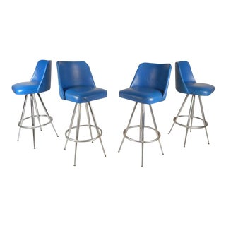 Vintage Modern Bar Stools by L & B Products Corporation - Set of 4 For Sale