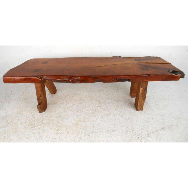 Lodge Rustic Wood Slab Coffee Table For Sale - Image 3 of 8