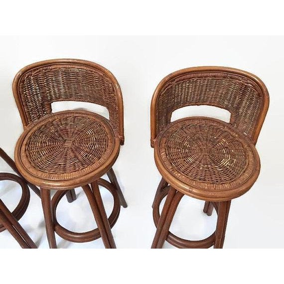 Vintage Rattan & Bamboo Swivel Bar Stools - Set of 3 For Sale - Image 10 of 11
