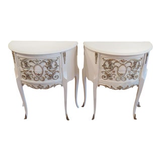 Demi Lune Side Tables - a Pair