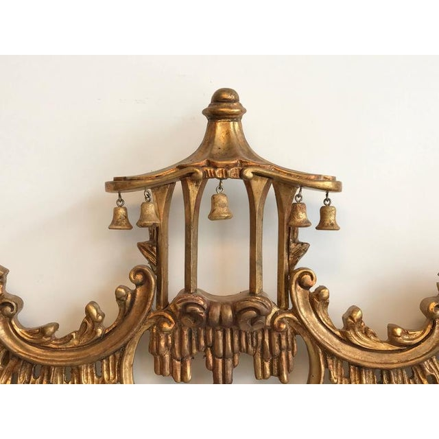 Chinoiserie Temple Bells Carved Wood Mirror - Image 3 of 9