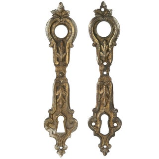 French Gilded Bronze Door Escutcheon Plates - A Pair