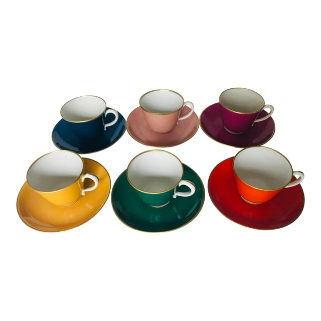 Mid Century Italian Richard Ginori Tea Cups/Demitasse Set - Set of Six, 12 Pieces For Sale