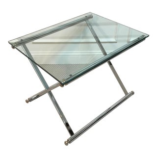 Vintage Italian Post Modern Classicism Chrome, Brass & Glass Side Table For Sale