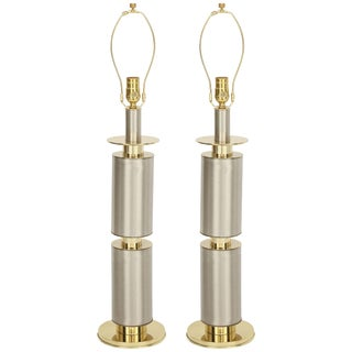 1970s Laurel Modernist Brushed Steel and Brass Lamps - a Pair For Sale