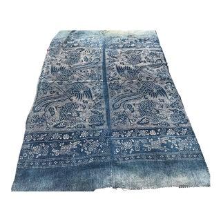 Vintage Asian Tribal Resist-Dye Indigo Textile For Sale
