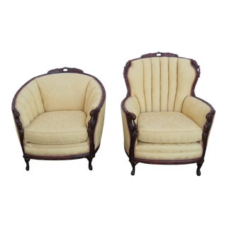 French Early 1900's Hand Carved Living Bed Room His and Hers Chairs 1650x For Sale