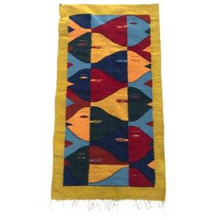 1970s Vintage Handwoven Wool Rug For Sale