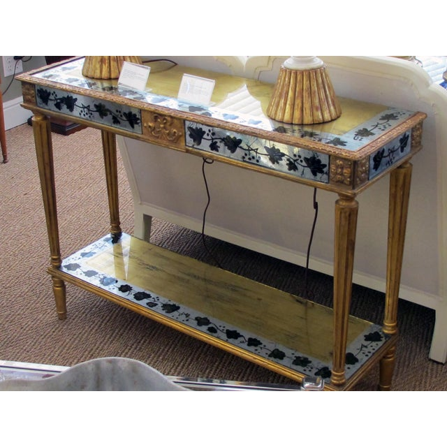 French Maison Jansen 1940's Eglomise Console Table and Mirror For Sale In San Francisco - Image 6 of 12