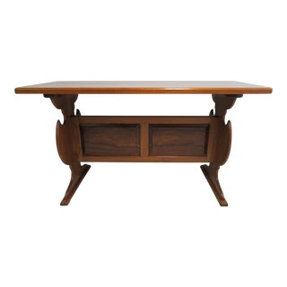 Vintage Solid Teak Mid Century High Top Dining Table Bar Custom For Sale