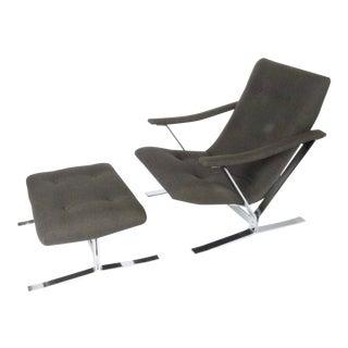 1970s Vintage Chrome Lounge Chair & Ottoman For Sale