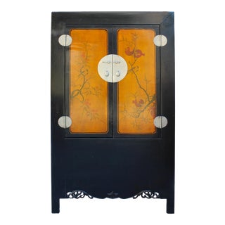 Chinese Black Orange Yellow Graphic Armoire Wardrobe Cabinet For Sale