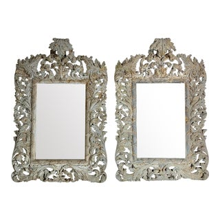 Pair of Rococo Style Wood Carved Mirrors-C. 1940's For Sale
