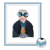 Image of Iris with Navy Fur Coat by Melvin G in Light Blue Transparent Acrylic Shadow Box, Mini Art Print For Sale