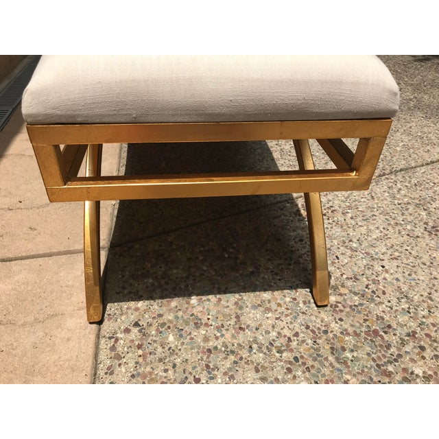 Contemporary Brass/Gold Benches With Upholstered Top - A Pair For Sale - Image 3 of 10