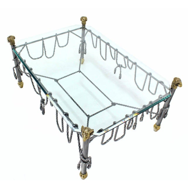 Early 20th Century Ornate Wrought Iron Brass and Glass Coffee Table For Sale - Image 5 of 8