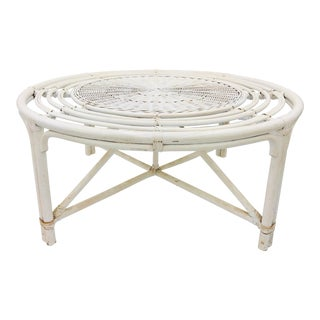 Vintage Wicker & Rattan Coffee Table For Sale