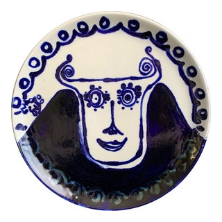 "Abstract Cubism Hand Painted Cobalt Blue ""Curly Horns"" Face Ceramic Decorative Pottery Plate For Sale"