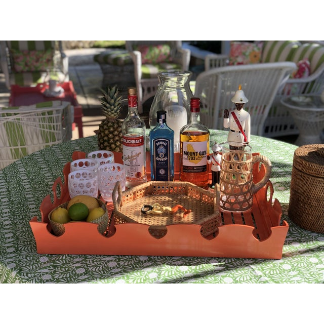 American Oomph Ocean Drive Outdoor Tray, Orange For Sale - Image 3 of 7