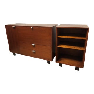 George Nelson Walnut Secretary and Bookcase on an Extra Long Slat Bench For Sale