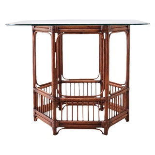 Hexagonal Bamboo Rattan Dining or Center Table For Sale