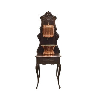 French Provincial Copper Church Lavabo on Stand For Sale