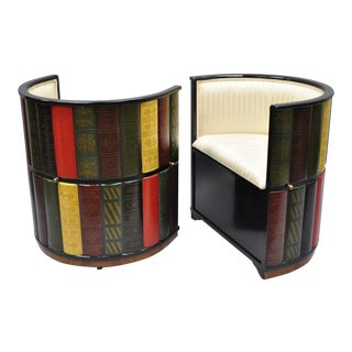 2 Nettlestone Library Ensemble Rolling Club Chairs by Design Toscono Book Form For Sale