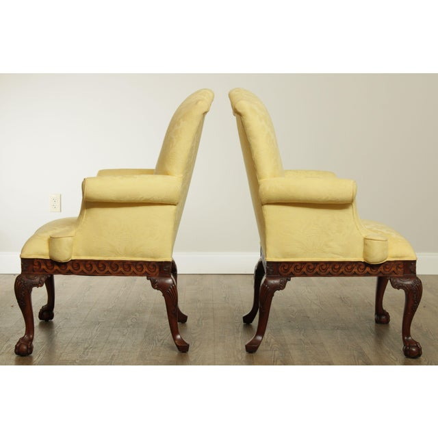Ardsley Hall Fine Chippendale Style Ball & Claw Mahogany Pair Library Armchairs For Sale - Image 4 of 13