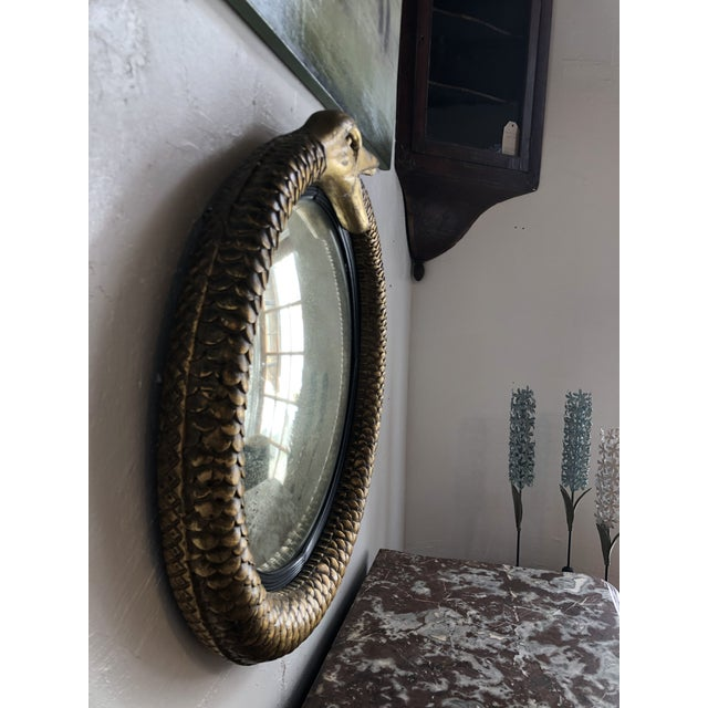 Early 19th Century Irish Gilt Ouroboros Serpent Form Mirror With Original Plate Circa 1805 For Sale - Image 5 of 13