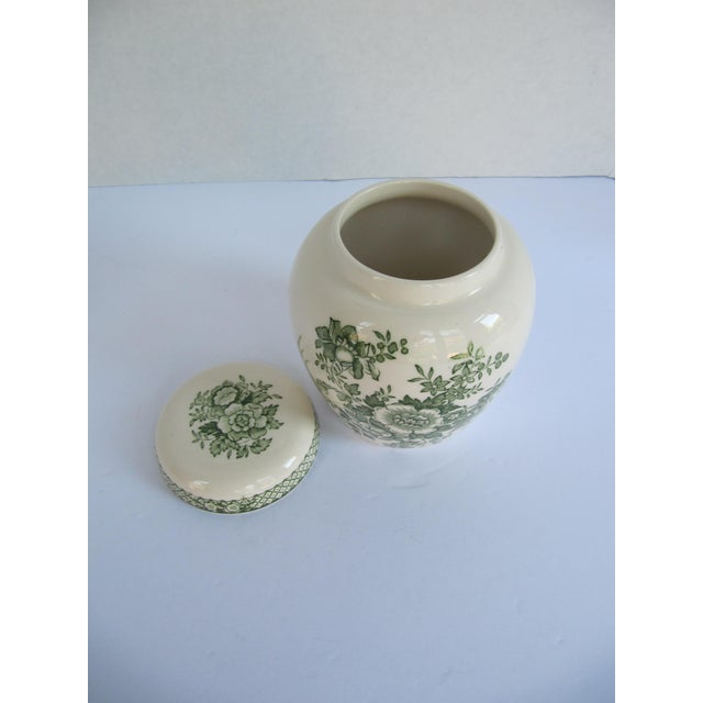 English Mason's Green Flower Ironstone Ginger Jar For Sale - Image 5 of 6