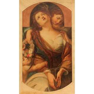 """Allegorical Painting """"Chastity"""" by Agostino Caironi For Sale"""