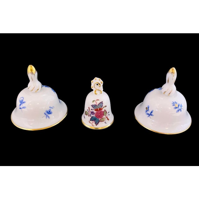 "A set of 3 beautifully made Herend porcelain miniature bells with gold accents! Larger Bells Measure approx. 2 5/8""..."