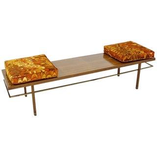 Mid-Century Modern Rare Harvey Probber Brass Frame Bench Lenor Larsen Cushions