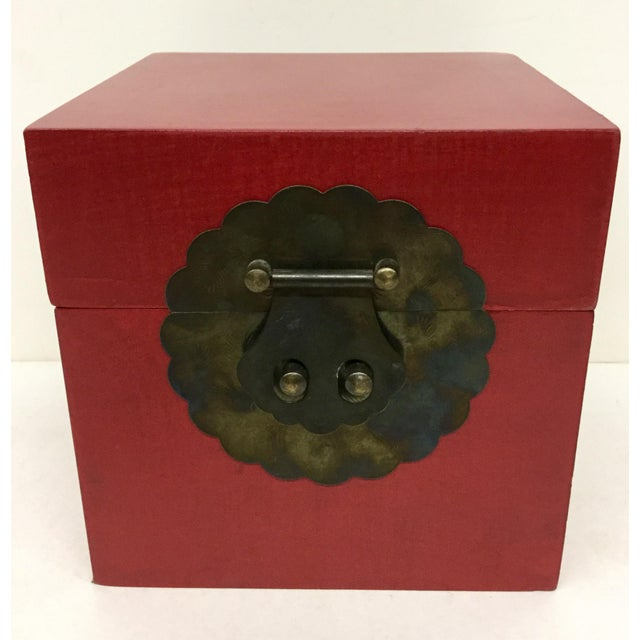 Vintage Chinese Cranberry Wood Brass Box For Sale - Image 11 of 11