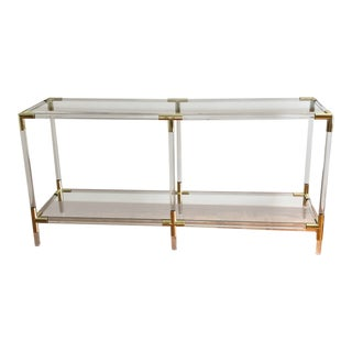Modern Interlude Home Acrylic, Glass & Gold Console Table For Sale