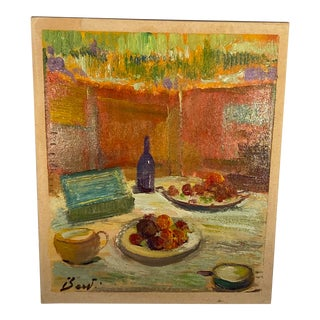 """Contemporary Italian """"Still Life Study"""" Oil on Cardboard Painting by Alessandro Berti For Sale"""