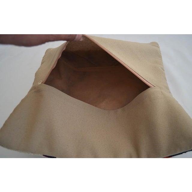 Vintage Handmade Kilim Rug Pillow Cover Turkish Diagonal Cut Throw Pillow For Sale - Image 4 of 5