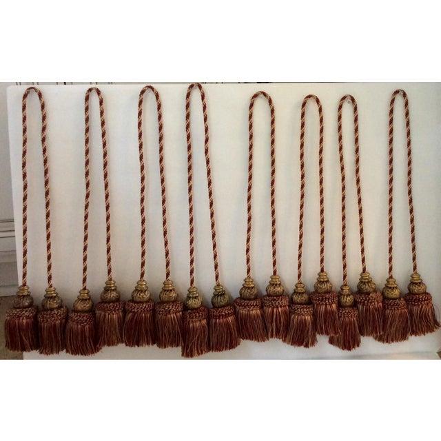 Moroccan Silk & Wood Bead Tassels- Set of 8 - Image 2 of 4