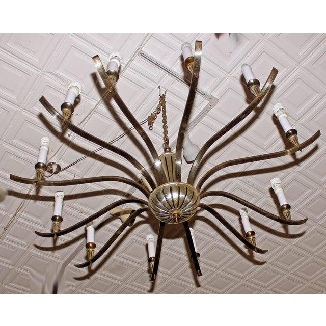 Hollywood Regency Mid 20th Century Regency Brass Chandelier For Sale - Image 3 of 6