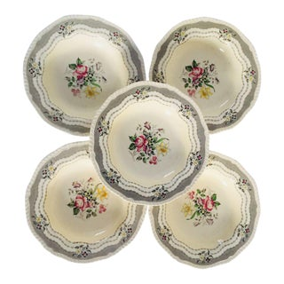 Vintage Cottage Style Floral Soup Bowls - Set of 5