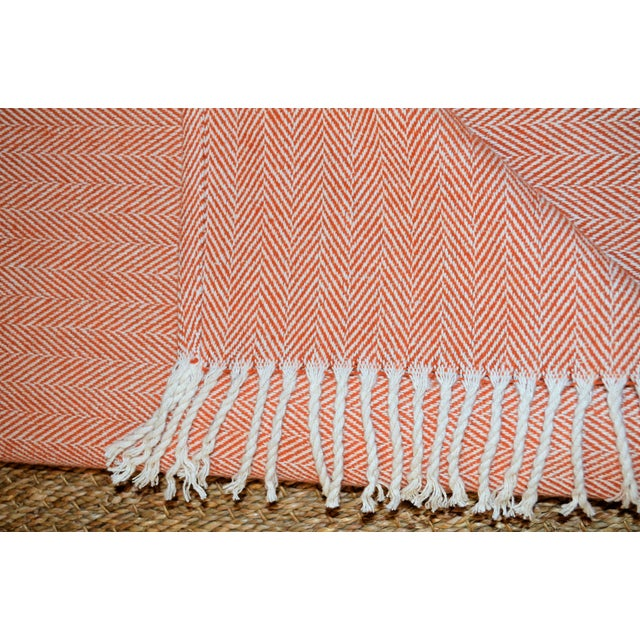 Summer Weight Italian Apricot and Cream Cotton Throw For Sale In Houston - Image 6 of 9