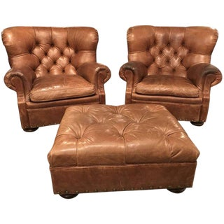 Ralph Lauren Home Leather Writer's Chairs & Ottoman - Set of 3