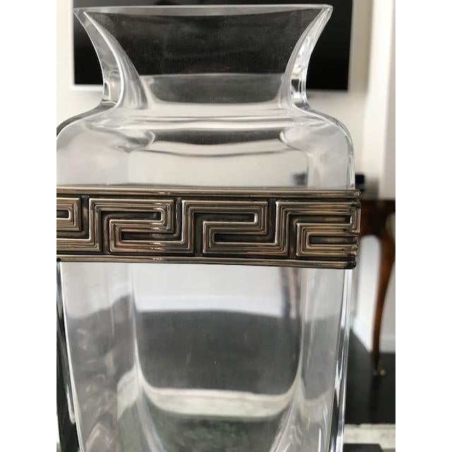 Modern Israeli Crystal Vase With Sterling Silver Band For Sale - Image 3 of 10