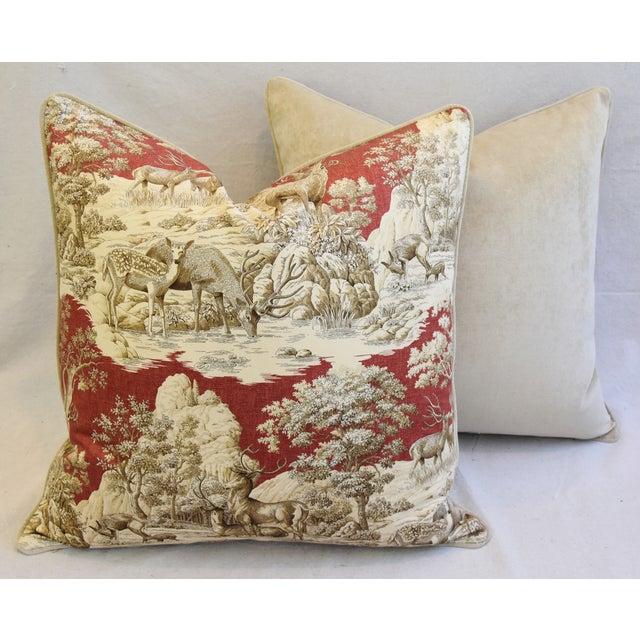 Custom Woodland Toile Deer & Velvet Pillows - a Pair - Image 10 of 10