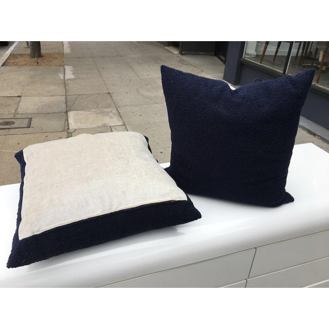 Contemporary Custom Navy Curly Boucle Pillows - A Pair For Sale - Image 3 of 8