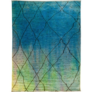 "New Over-Dyed Moroccan Hand-Knotted Rug - 8'8"" x 11'4"" For Sale"