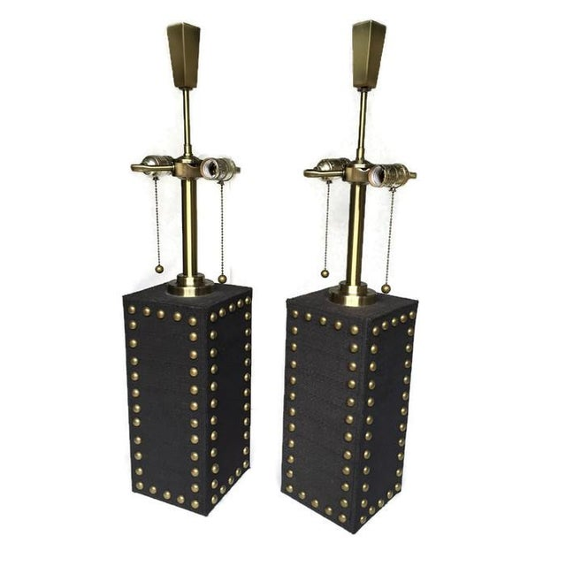 Modern Glam Studded Black & Brass Lamps - Pair - Image 7 of 10
