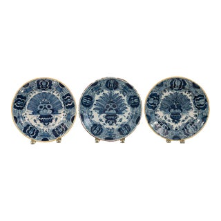 Dutch Delft Blue & White Peacock Chargers
