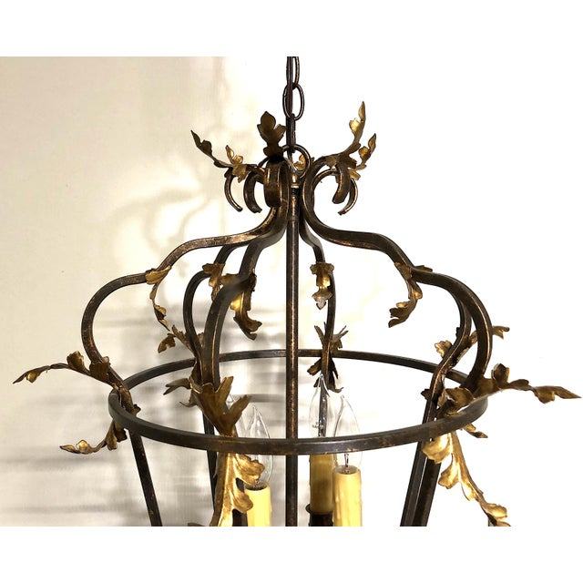 French Late 20th Century Venetian Iron and Gilded Tole Foliate Hanging Lantern For Sale - Image 3 of 10